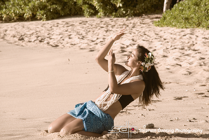 Raeceen hula on sand leaning back closer sepia 10